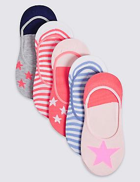 5 Pairs of Cotton Rich Freshfeet™ Socks (3-14 Years), NAVY MIX, catlanding