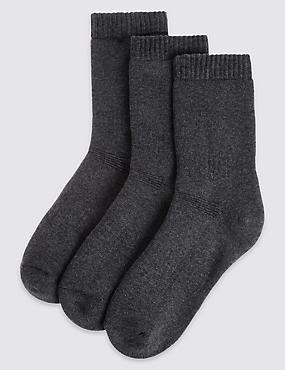 3 Pack of Cotton Blend Thermal Socks with Freshfeet™ (3-16 Years), GREY MARL, catlanding
