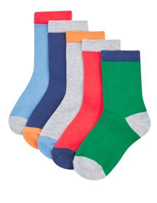 Хлопковые носки Freshfeet™ с ярким цветным дизайном для мальчика 5-14 лет (5 пар) от Marks & Spencer