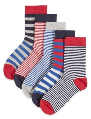 Хлопковые носки Freshfeet™ в яркую морскую полоску для мальчика 1-7 лет (5 пар) от Marks & Spencer