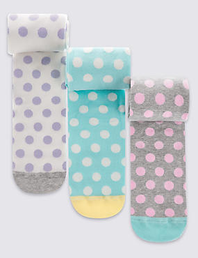 3 Pairs of Freshfeet™ Cotton Rich Spotted Tights (2-8 Years), PALE PINK MIX, catlanding