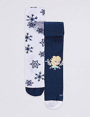 2 Pairs of Cotton Rich Frozen Freshfeet™ Tights (2-8 Years), NAVY, catlanding
