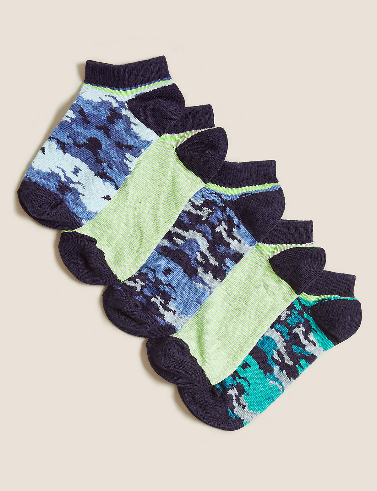 Хлопковые короткие носки с камуфляжным принтом (5 пар)