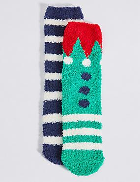 2 Pairs of Socks(2-14 Years), GREEN MIX, catlanding