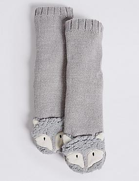 2 Pairs of Fox Socks (2-14 Years), SILVER GREY, catlanding
