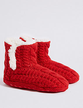 Christmas Cable Knit Slipper Boots (2-14 Years), MULTI, catlanding