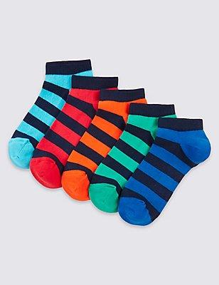 5 Pairs of Freshfeet™ Striped Trainer Liner Socks (3-16 Years), NAVY, catlanding
