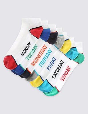 7 Pairs of Freshfeet™ Trainer Liner Socks (3-16 Years), MULTI, catlanding