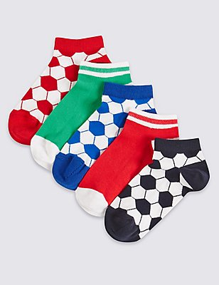 5 Pairs of Cotton Rich Trainer Liner Socks (3-14 Years), NAVY MIX, catlanding