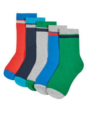 Хлопковые цветные носки Freshfeet™ с полоской для мальчика 5-14 лет (5 пар)