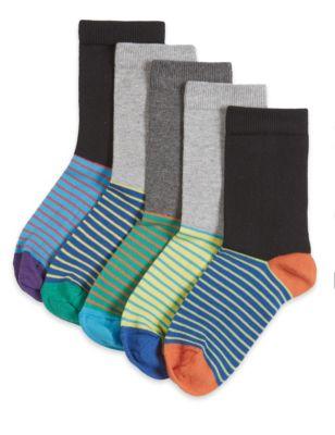 Хлопковые носки Freshfeet™ с комбинированным дизайном для мальчика 5-14 лет (5 пар)