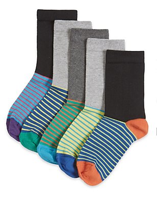 5 Pairs of Freshfeet™ Cotton Rich Striped Footbed Socks  (5-14 Years), GREY MIX, catlanding