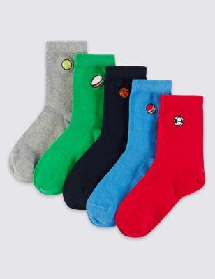 """Хлопковые носки Freshfeet™ с вышивкой """"спорт"""" для мальчиков 8-14 лет (5 пар) T644432"""