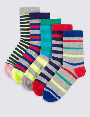 Цветные полосатые носки Freshfeet™ для мальчика 5-14 лет (5 пар) от Marks & Spencer