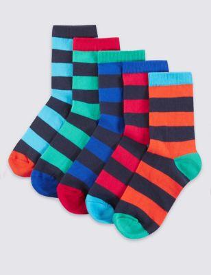 Хлопковые носки в цветную полоску-регби для мальчика 5-14 лет (5 пар) от Marks & Spencer