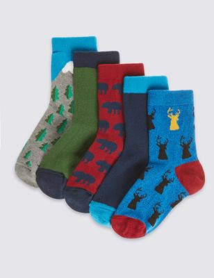 """Хлопковые цветные носки Freshfeet™ с принтами """"Дикий лес"""" для мальчика 1-14 лет (5 пар) от Marks & Spencer"""