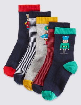 """Хлопковые носки Freshfeet™ с ярким дизайном """"Солдатик"""" для мальчика 1-14 лет (5 пар) от Marks & Spencer"""