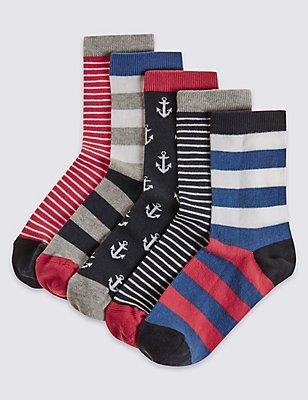 5 Pairs of Socks (1-14 Years), RED, catlanding