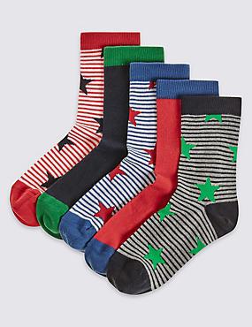 5 Pairs of Socks (1-14 Years), GREY MARL, catlanding