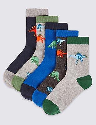 5 Pairs of Dino Print Socks (1-14 Years), KHAKI, catlanding
