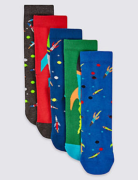 5 Pairs of Space Print Socks (1-14 Years), MEDIUM SLATE, catlanding