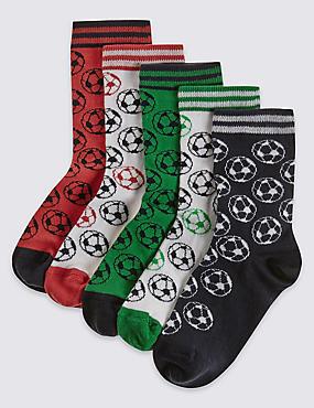 5 Pairs of Socks (1-14 Years), WHITE MIX, catlanding