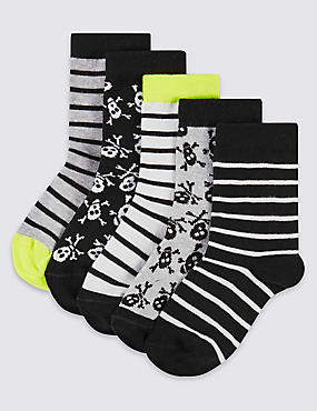 5 Pairs of Cotton Rich Socks (7-14 Years), BLACK MIX, catlanding