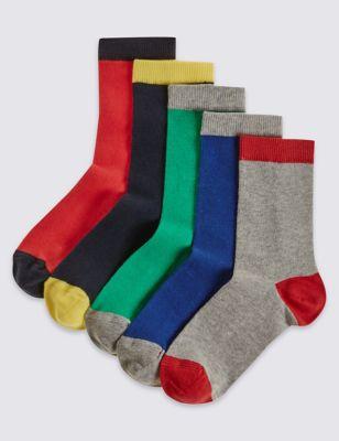 Однотонные цветные носки с контрастными носком и пяткой для мальчика 12 мес- 14 лет (5 пар)