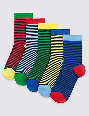 5 Pairs of Freshfeet™ Striped Socks (1-14 Years), YELLOW MIX, catlanding