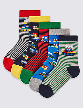 5 Pairs of Cotton Rich Socks (1-6 Years), GREEN MIX, catlanding