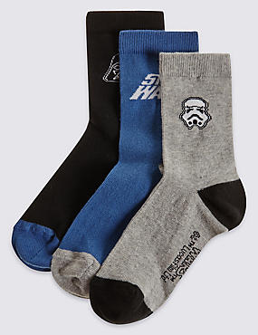 3 Pairs of Star Wars™ Socks (3-14 Years), BLUE, catlanding
