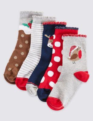 Носки Freshfeet™ с новогодним дизайном для девочки 1-11 лет (5 пар)