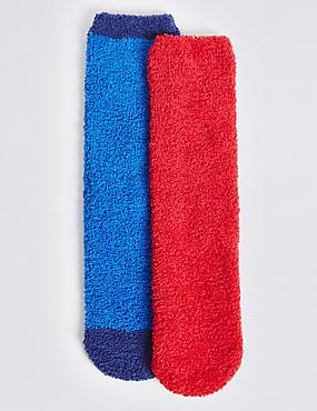 Lot de 2paires de chaussettes confortables (du 1 au 14ans), ROUGE, catlanding
