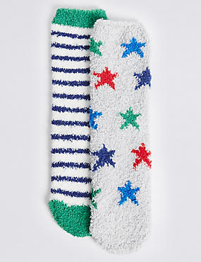 2 Pairs of Cosy Socks (1-14 Years), NAVY, catlanding