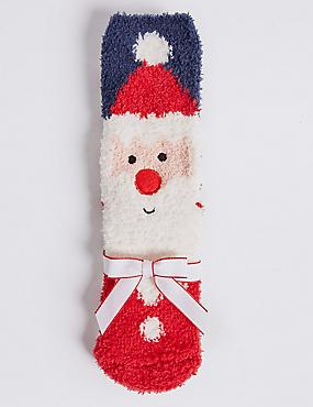 2 Pairs of Santa Socks (1-14 Years), RED MIX, catlanding