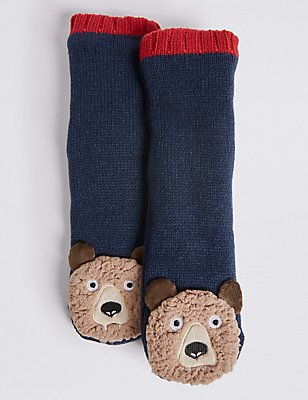 Bear Moccasin Socks (1-14 Years), BLUE, catlanding