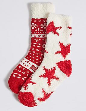 2 Pairs of Fairisle Socks (12 Months - 14 Years), RED MIX, catlanding