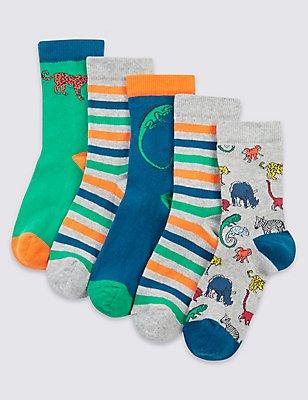 5 Pairs of Freshfeet™ Cotton Rich Socks (1-14 Years), BRIGHT BLUE MIX, catlanding