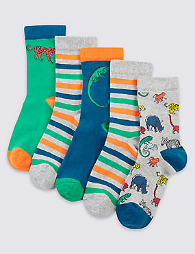 5 Pairs of Freshfeet™ Cotton Rich Socks (1-14 Years), BRIGHT BLUE MIX, catlanding