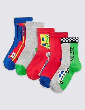 5 Pairs of Freshfeet™ Cotton Rich Socks (1-6 Years), RED MIX, catlanding