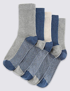 5 Pairs of Cotton Rich Socks with Freshfeet™ (1-14 Years), DENIM MIX, catlanding