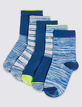 5 Pairs of Freshfeet™ Cotton Rich Socks (12 Months - 14 Years), BLUE DENIM, catlanding