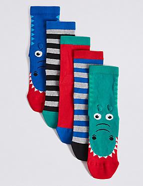 5 Pairs of Freshfeet™ Novelty Socks (1-14 Years), GREEN MIX, catlanding