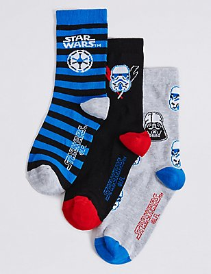 3 Pairs of Cotton Rich Star Wars™ Socks (1-14 Years), BLUE MIX, catlanding