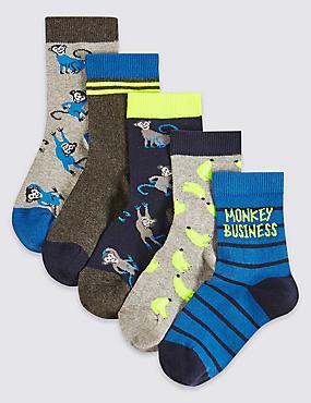 Lot de 5paires de chaussettes en coton (du 1 au 6ans), GRIS CHINÉ, catlanding