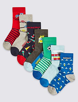 7 Pairs of Cotton Rich Socks (1-6 Years), MULTI, catlanding
