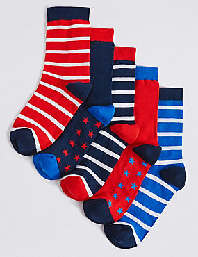 5 Pairs of Freshfeet™ Nautical Socks (1-14 Years), BLUE MIX, catlanding