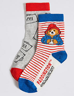 2 Pairs of  Paddington™ Cotton Rich Socks (1- 6 Years), MULTI, catlanding