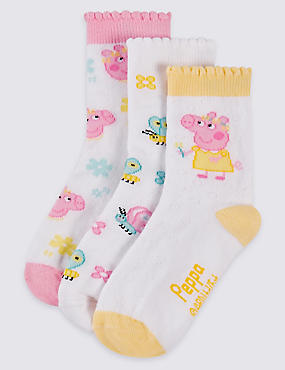 3 Pairs of Peppa Pig™ Socks (1-6 Years), LIGHT PINK, catlanding