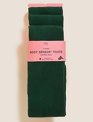 3 Pairs of Freshfeet™ Cotton Rich Body Sensor™ School Tights (4-14 Years), GREEN, catlanding